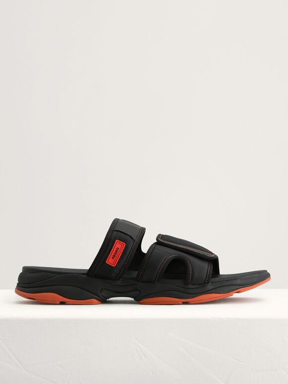 Double Strap Velcro Sandals, Black, hi-res