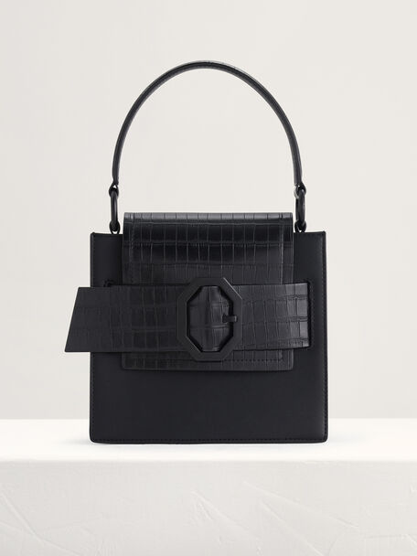 Croc-Effect Buckled Top Handle Bag, Black, hi-res