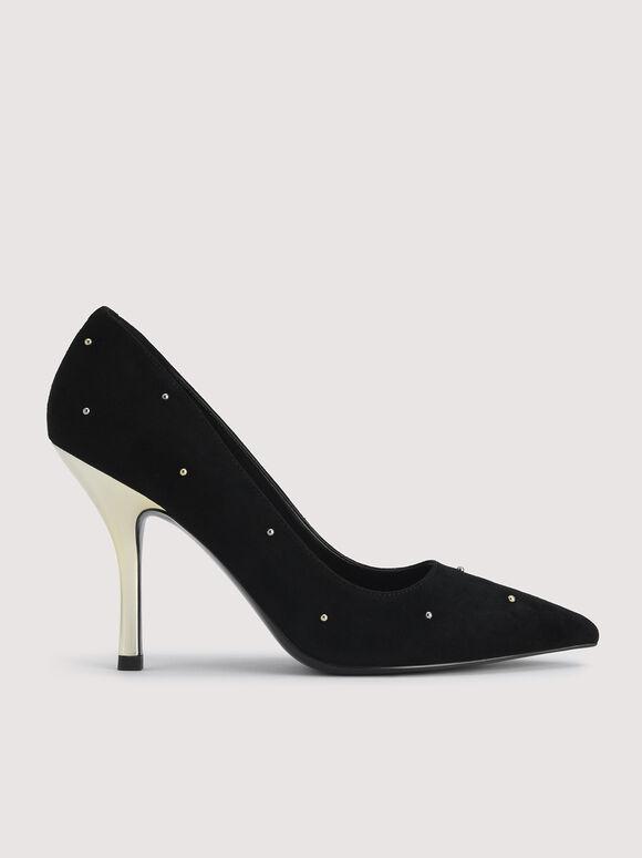 Embellished Leather Pointed Pump Heels, Black, hi-res