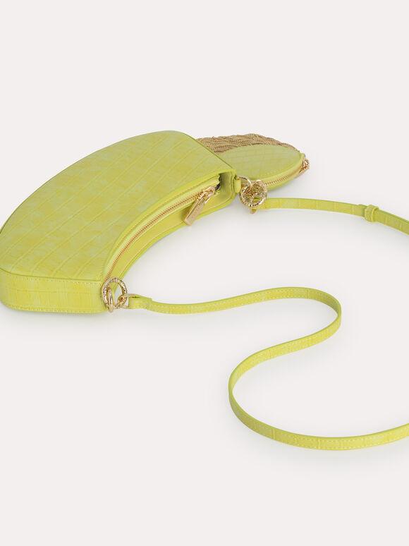 Croc-Effect Shoulder Bag, Yellow, hi-res