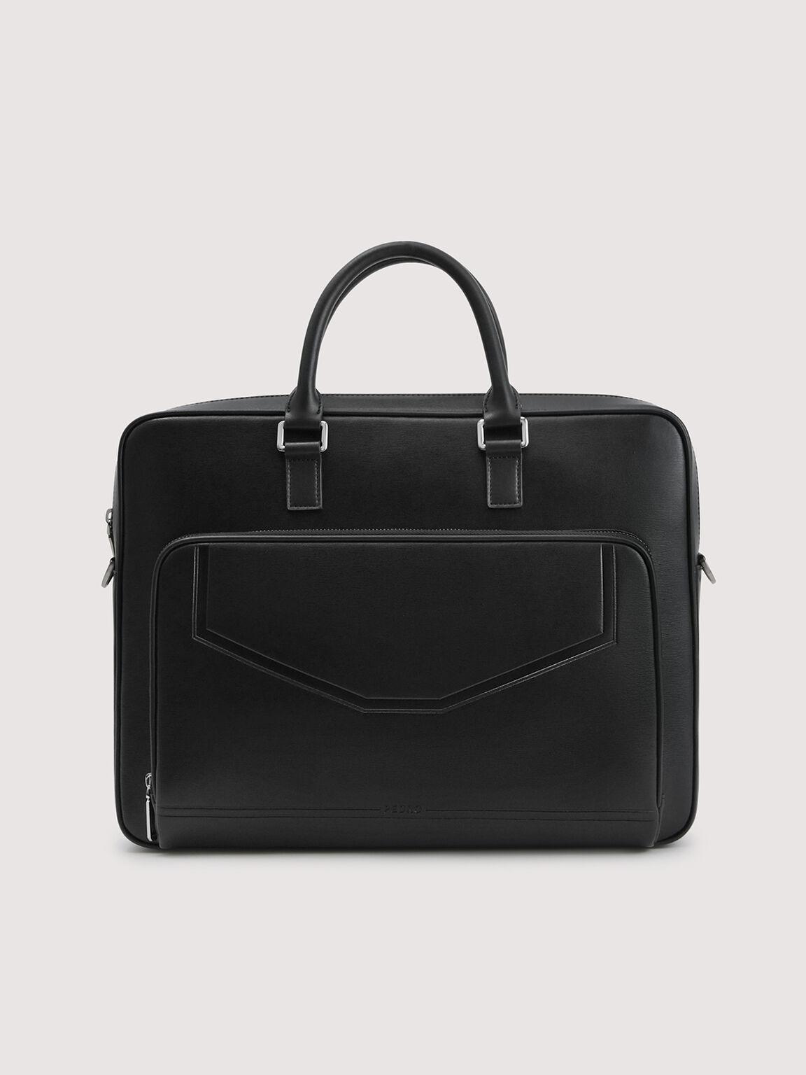 Leather Double Handle Briefcase, Black, hi-res