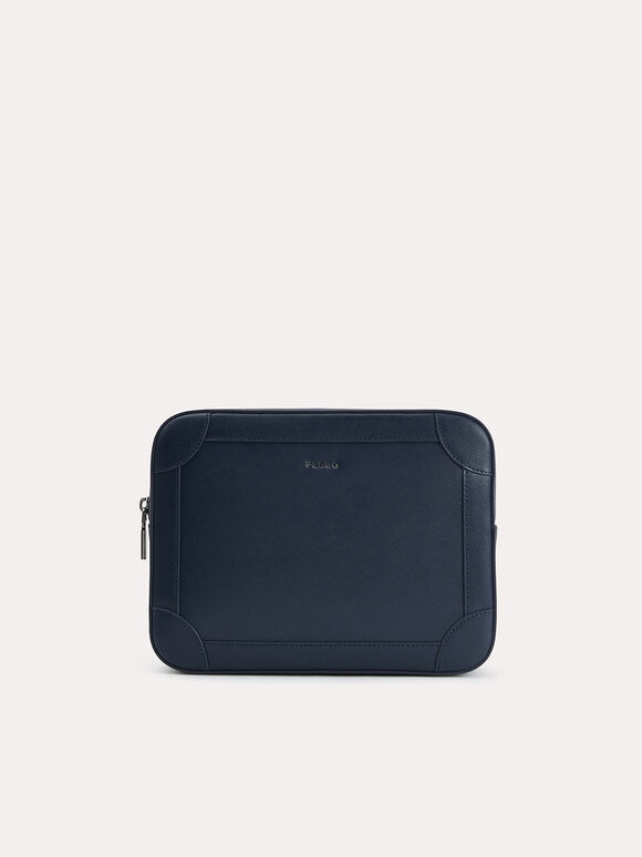 Textured Leather Clutch with Wristlet, Navy, hi-res