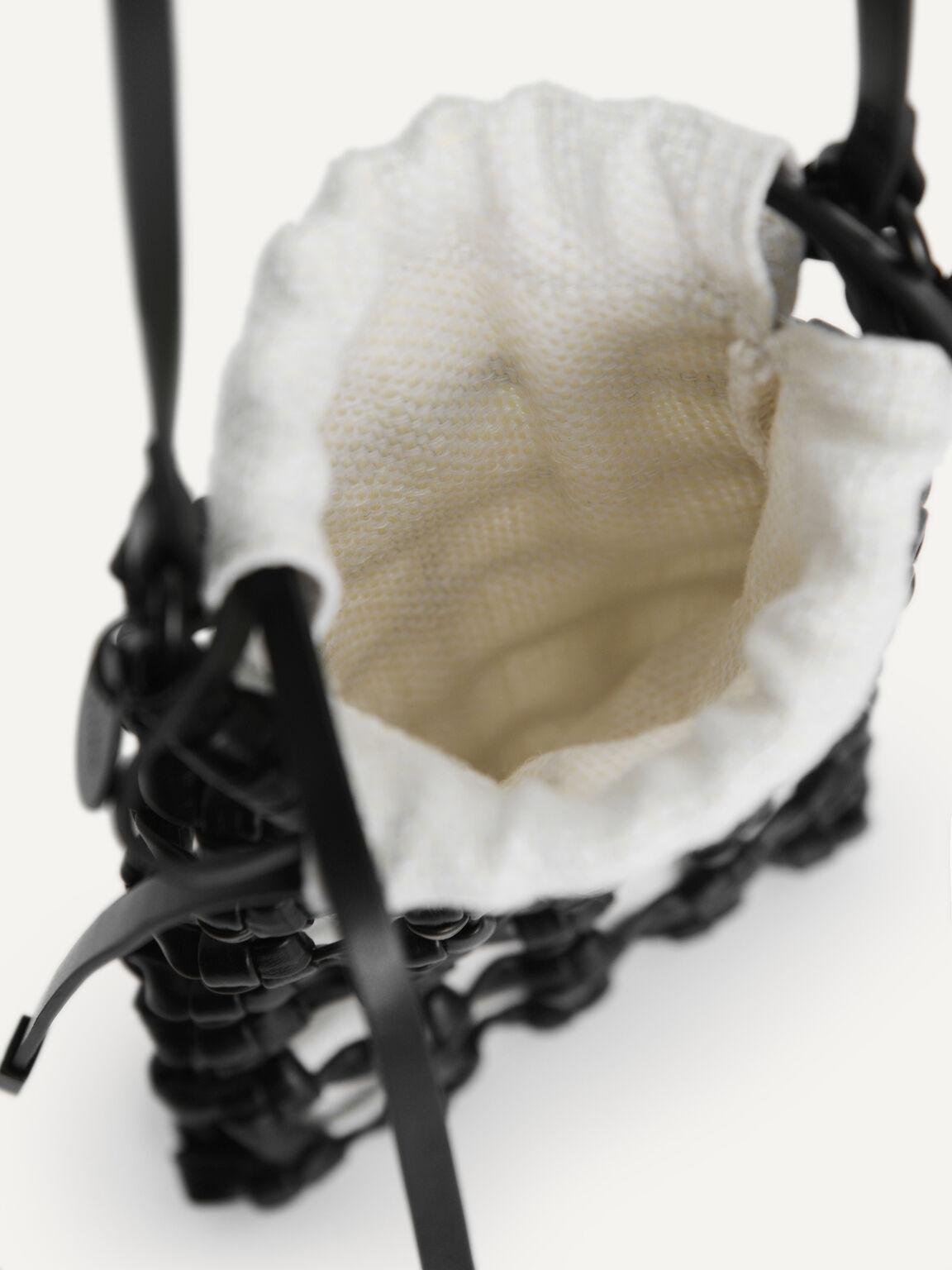 Woven Drawstring Pouch, Black, hi-res