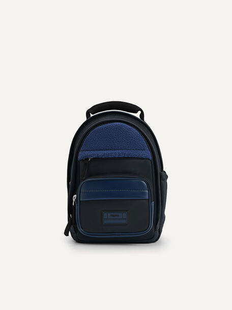 Two-Way Faux Fur Mini Backpack, Navy, hi-res