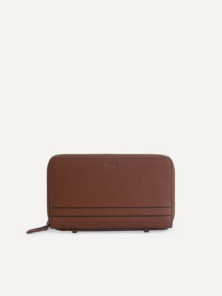Textured Leather Travel Organizer, Cognac, hi-res
