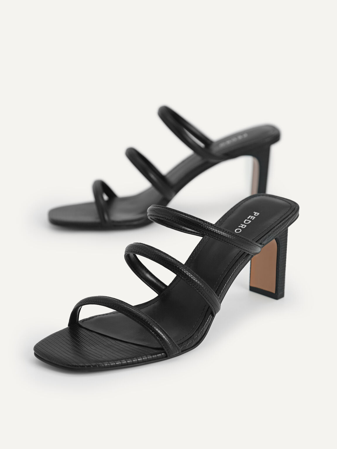 Strappy Heeled Lizard-Effect Sandals, Black, hi-res