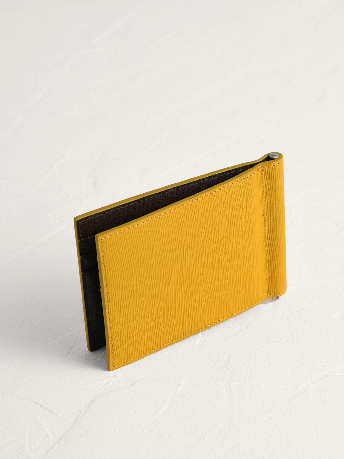 Leather Bi-Fold Card Holder with Money Clip, Mustard, hi-res