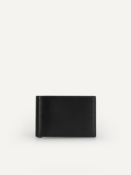 Textured Leather Wallet with Money Clip, Black, hi-res