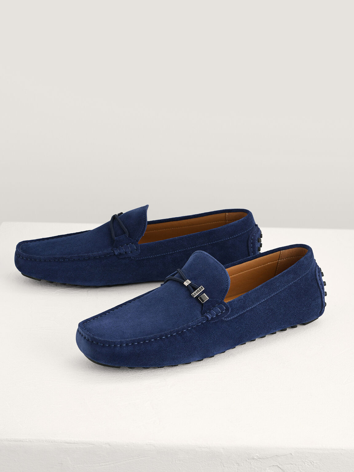 Suede Moccasins with Rope Detailing, Navy, hi-res