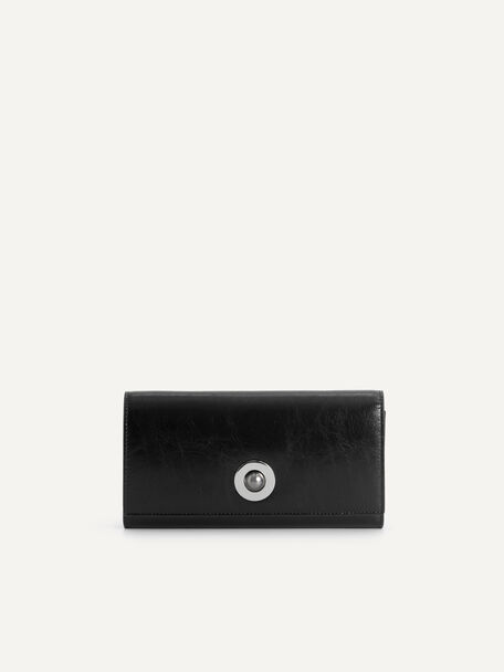 Leather Bi-Fold Wallet with Detachable Chain, Black, hi-res