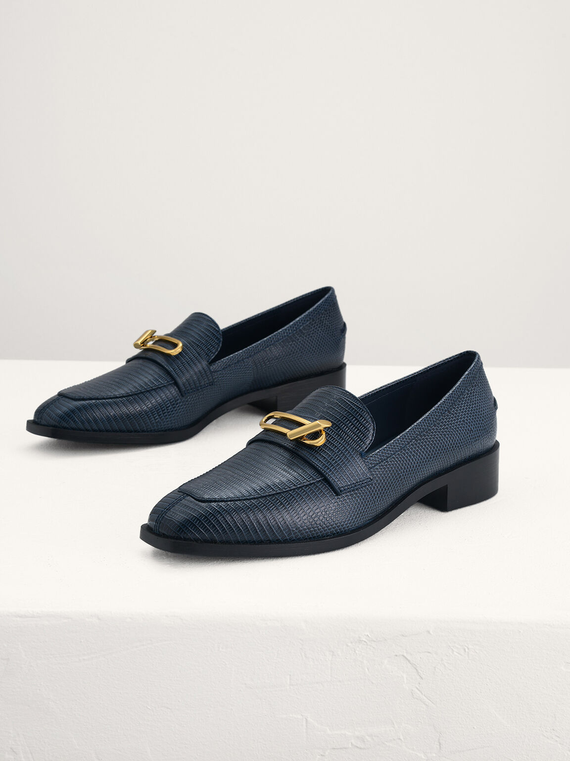 Lizard-Effect Leather Loafers, Navy, hi-res