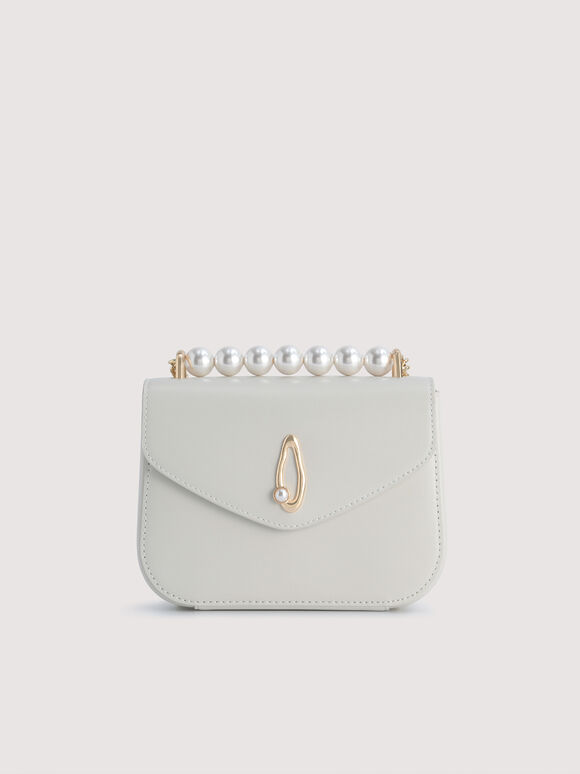 Pearl Detail Leather Shoulder Bag, Chalk, hi-res