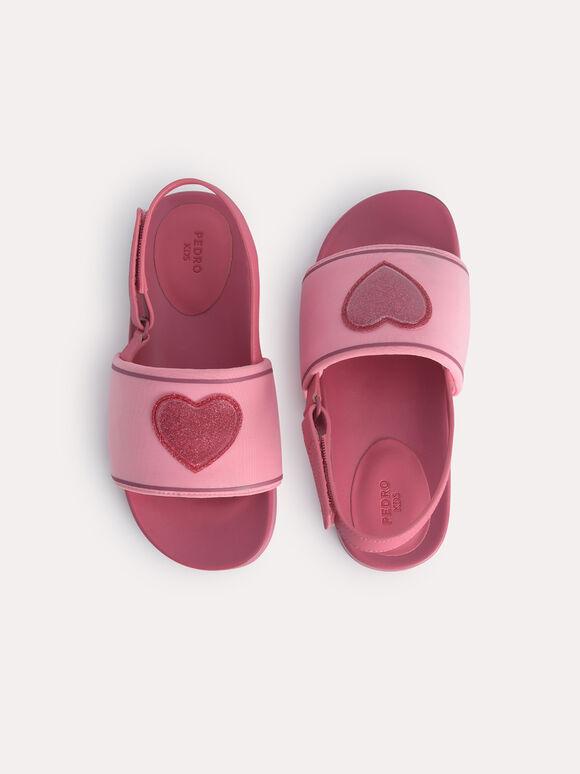 Pink Heart Slingback Sandals, Pink, hi-res