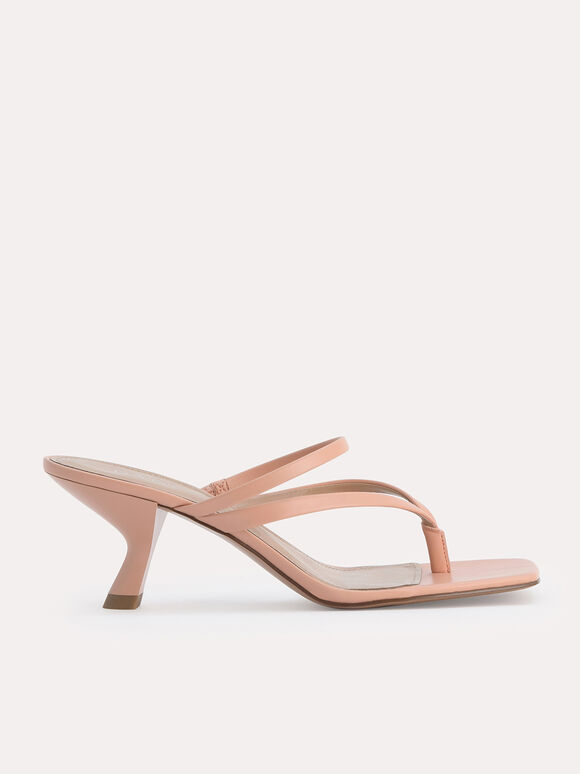 Thong Heeled Sandals, Nude, hi-res