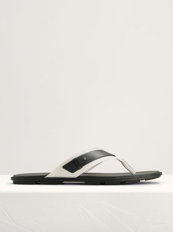 Buckled Thong Sandals in Two-Tone, White, hi-res
