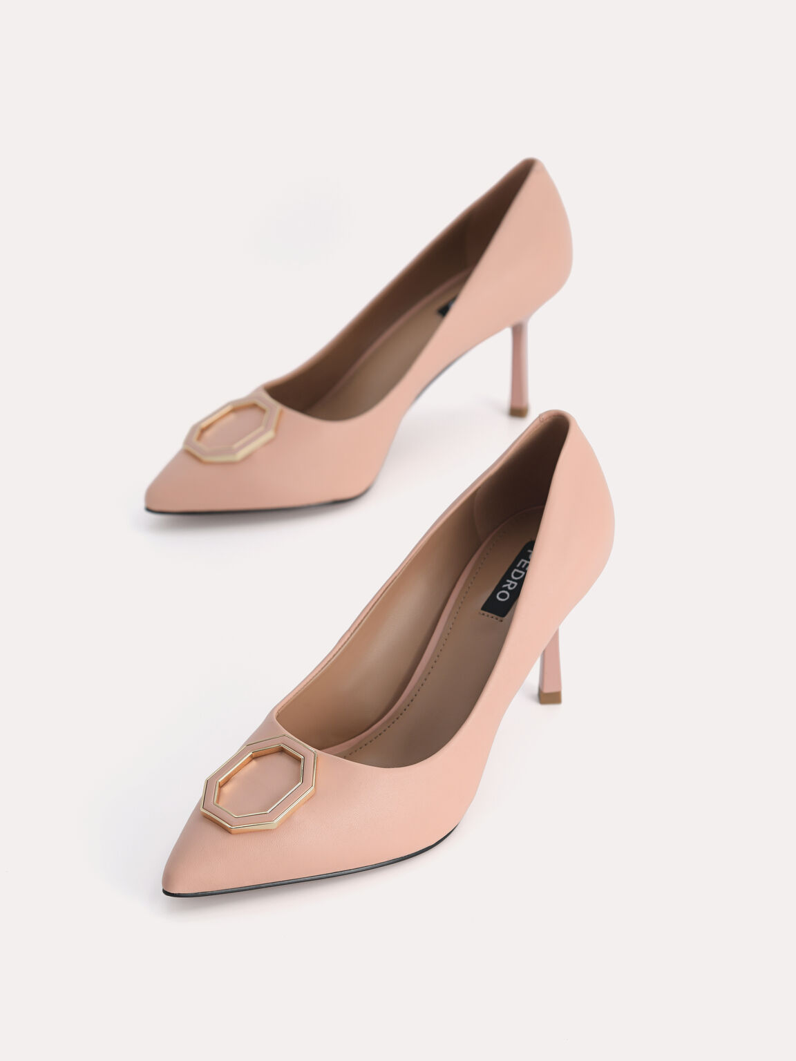 Leather Pointed Toe Pumps, Blush, hi-res