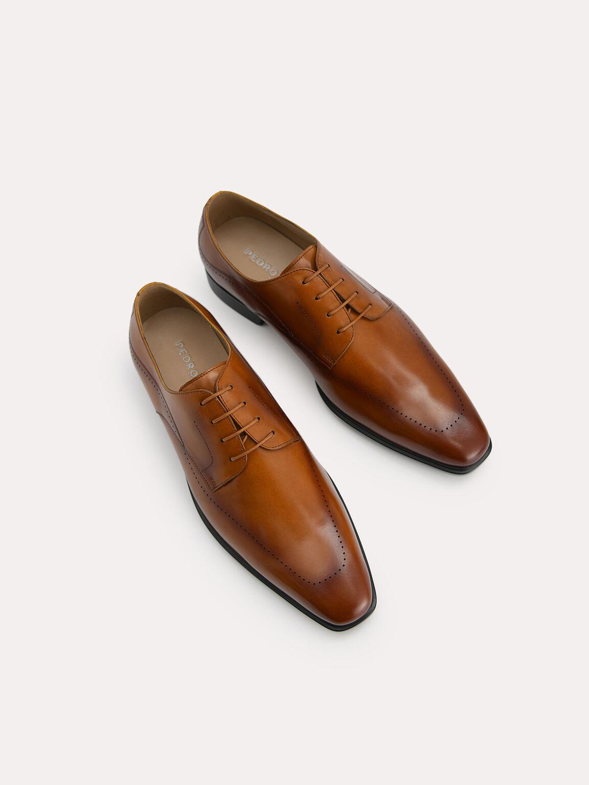 Burnished Leather Derby Shoes, Cognac, hi-res
