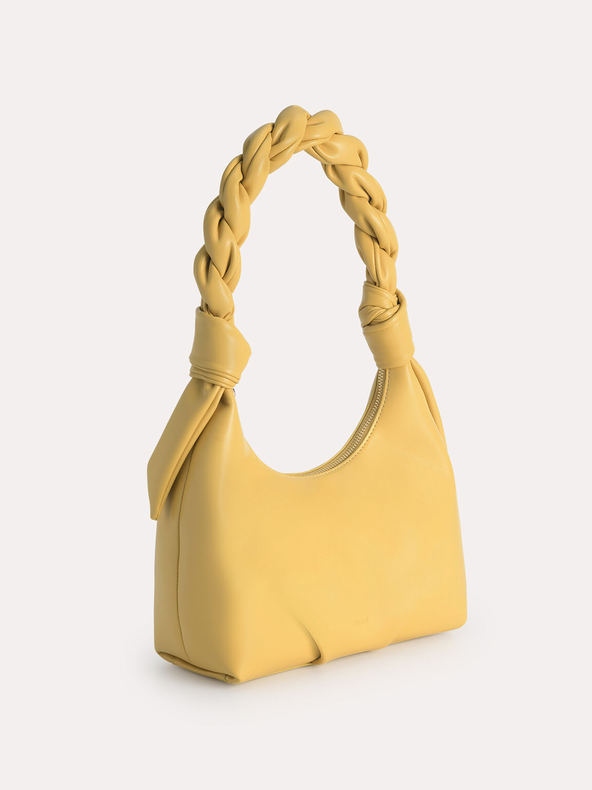Hobo Bag with Twisted Top Handle, Yellow, hi-res