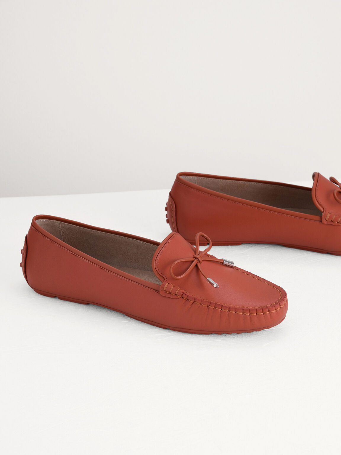 Leather Bow Moccasins, Brick, hi-res