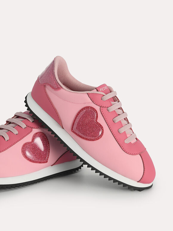 Sneakers with Glitter Heart, Pink, hi-res