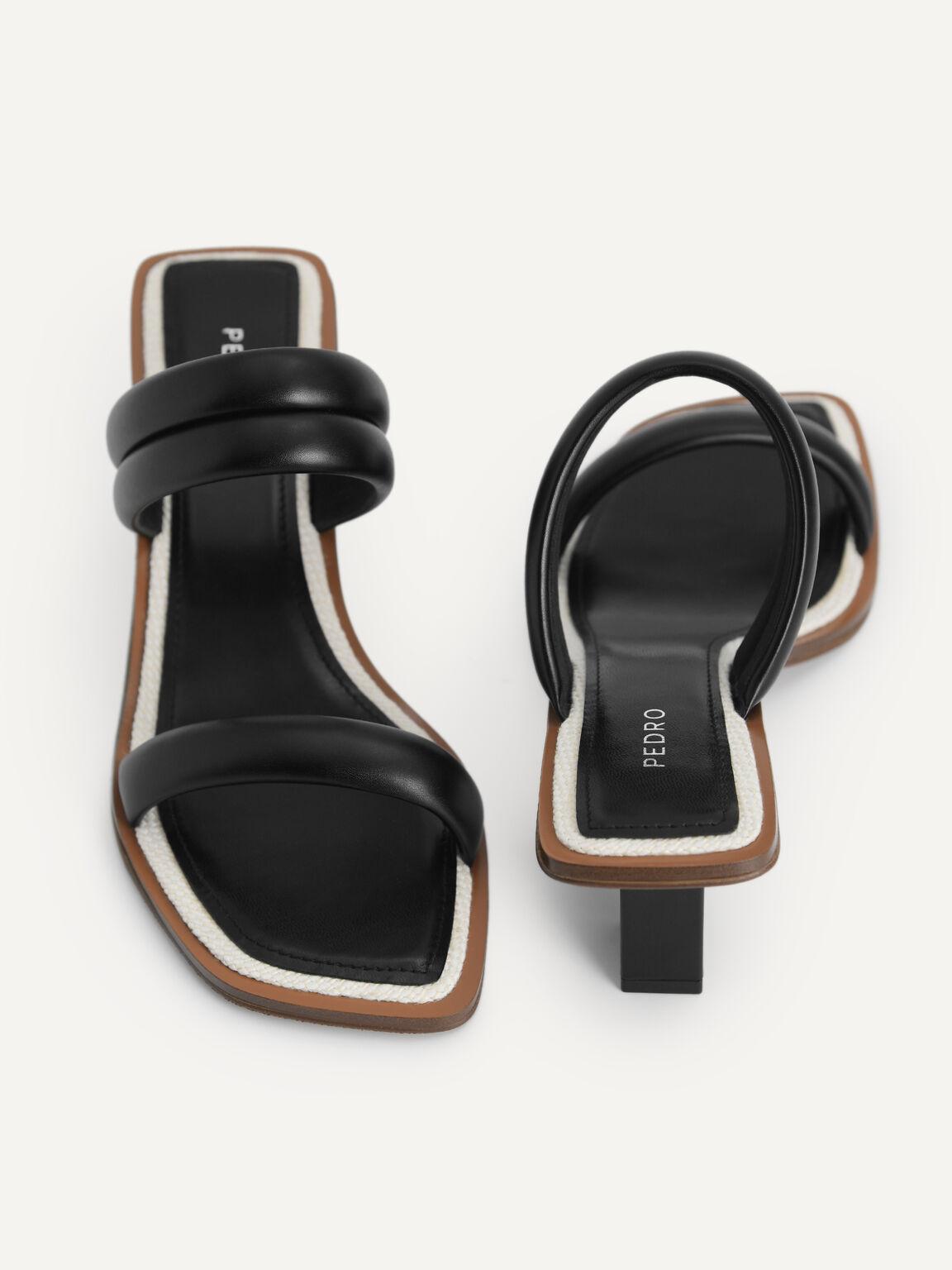 Double Strap Heeled Sandals, Black, hi-res