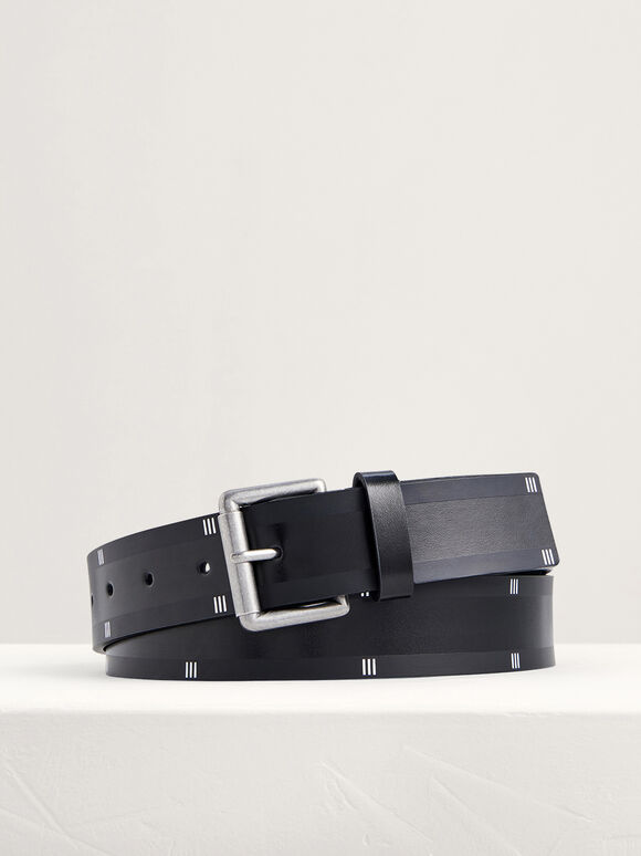 Casual Leather Pin Belt, Black, hi-res