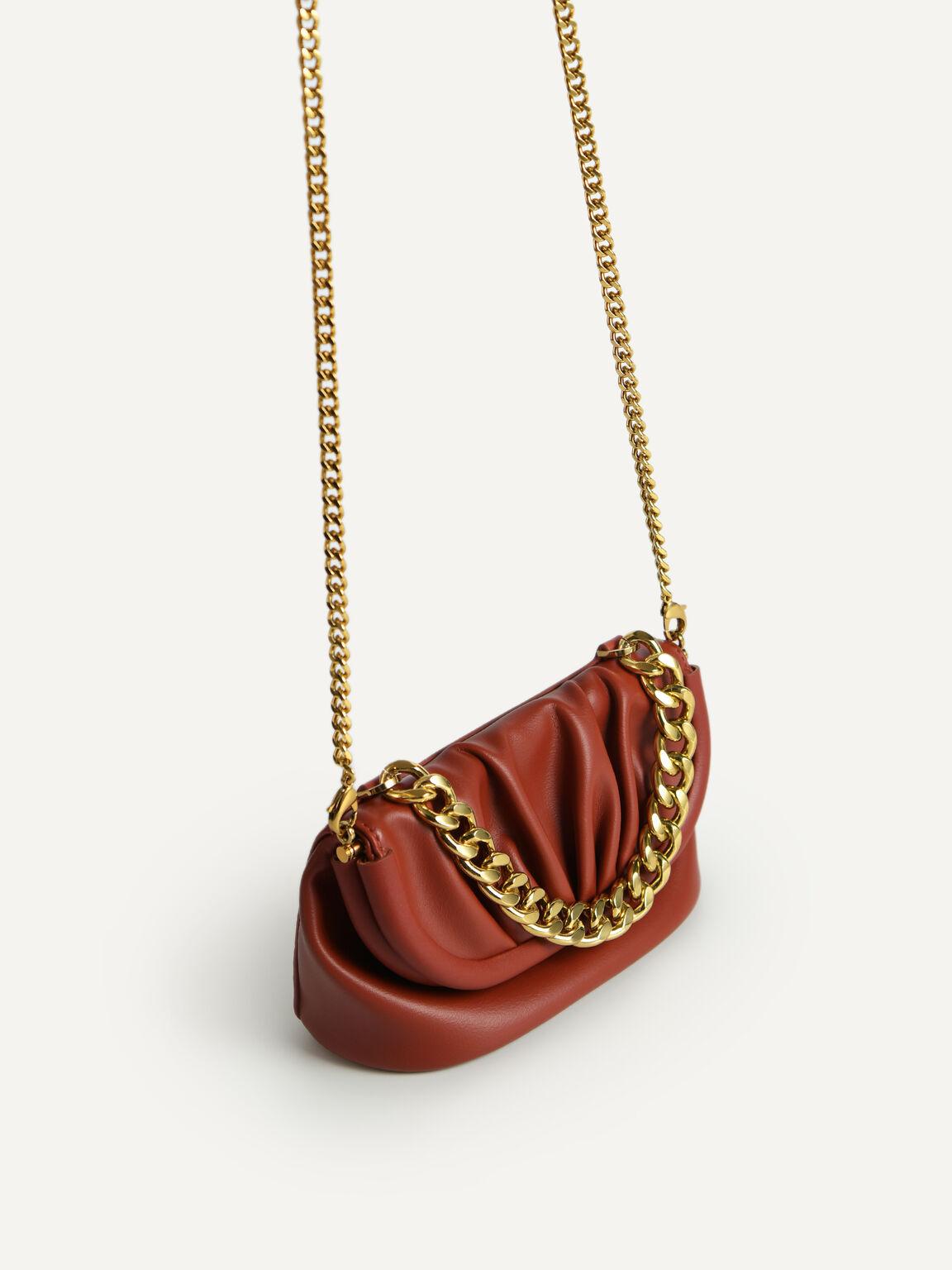 Mini Draped Shoulder Bag, Brick, hi-res