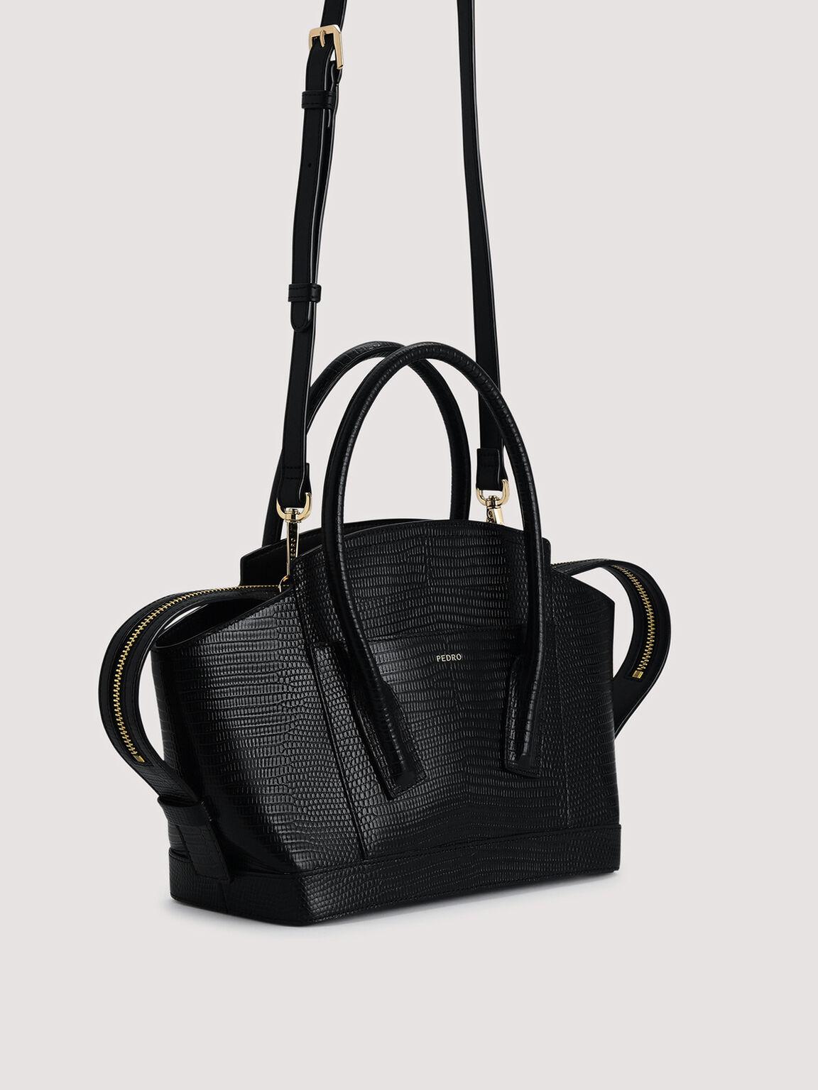 Embossed Leather Top Handle bag, Black, hi-res