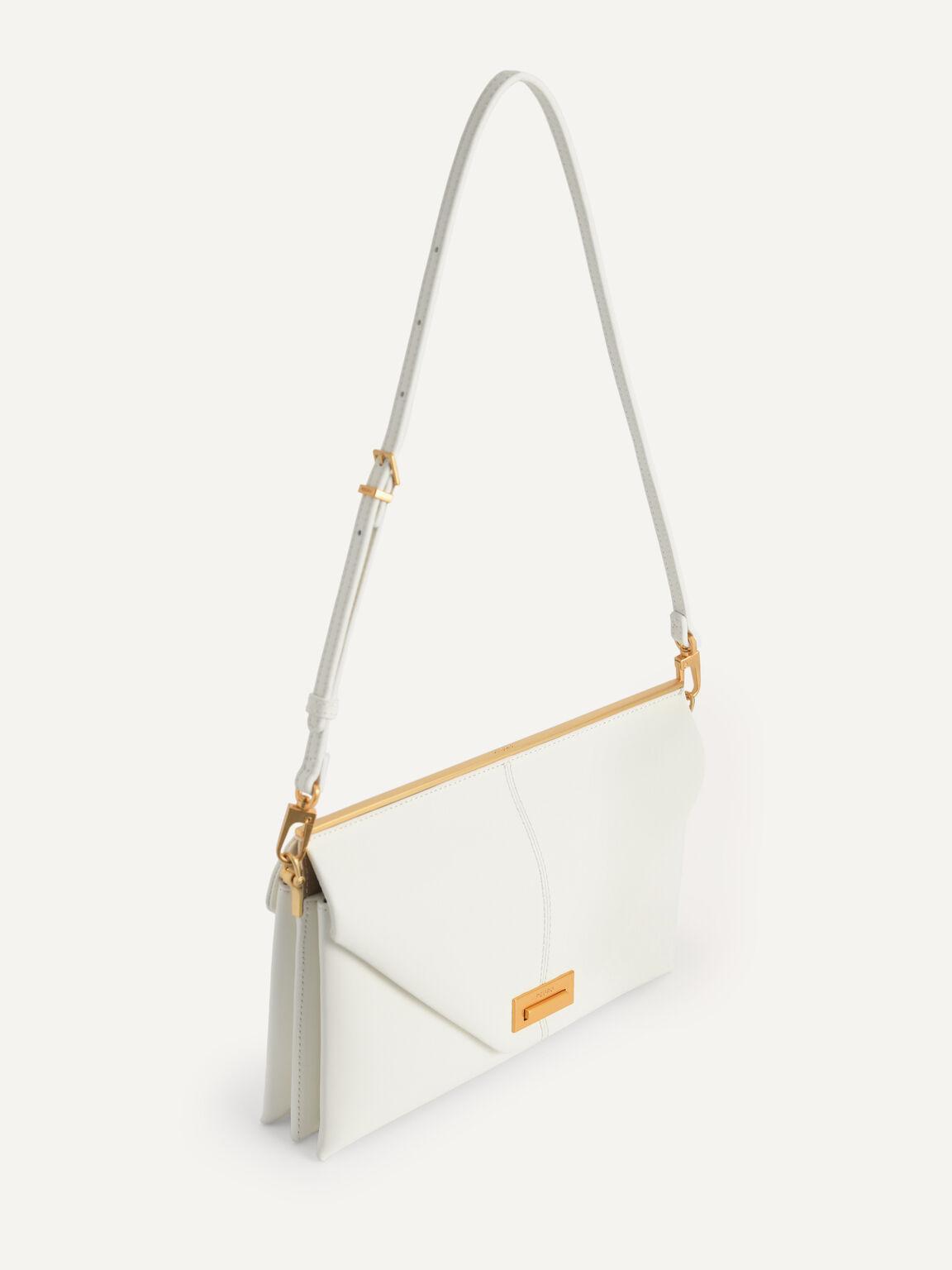Envelope Leather Shoulder Bag, Chalk, hi-res