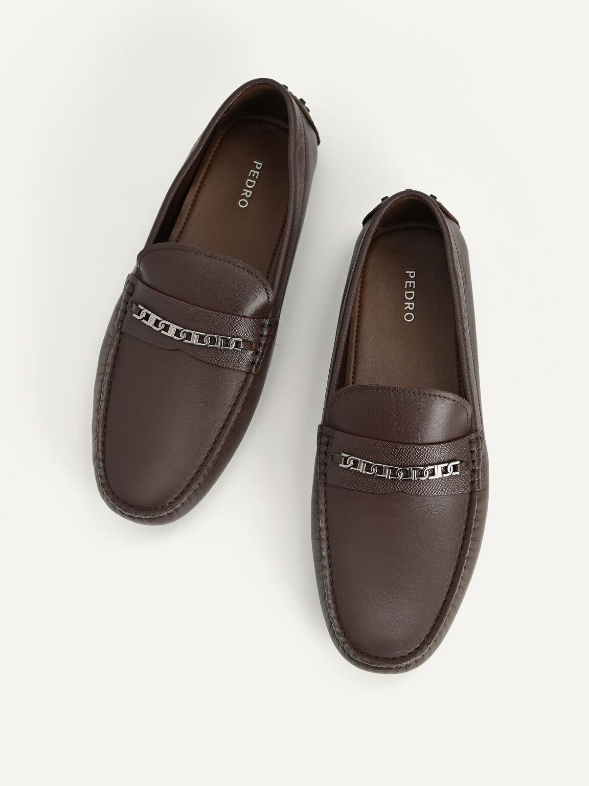 Icon leather Moccasins, Dark Brown, hi-res
