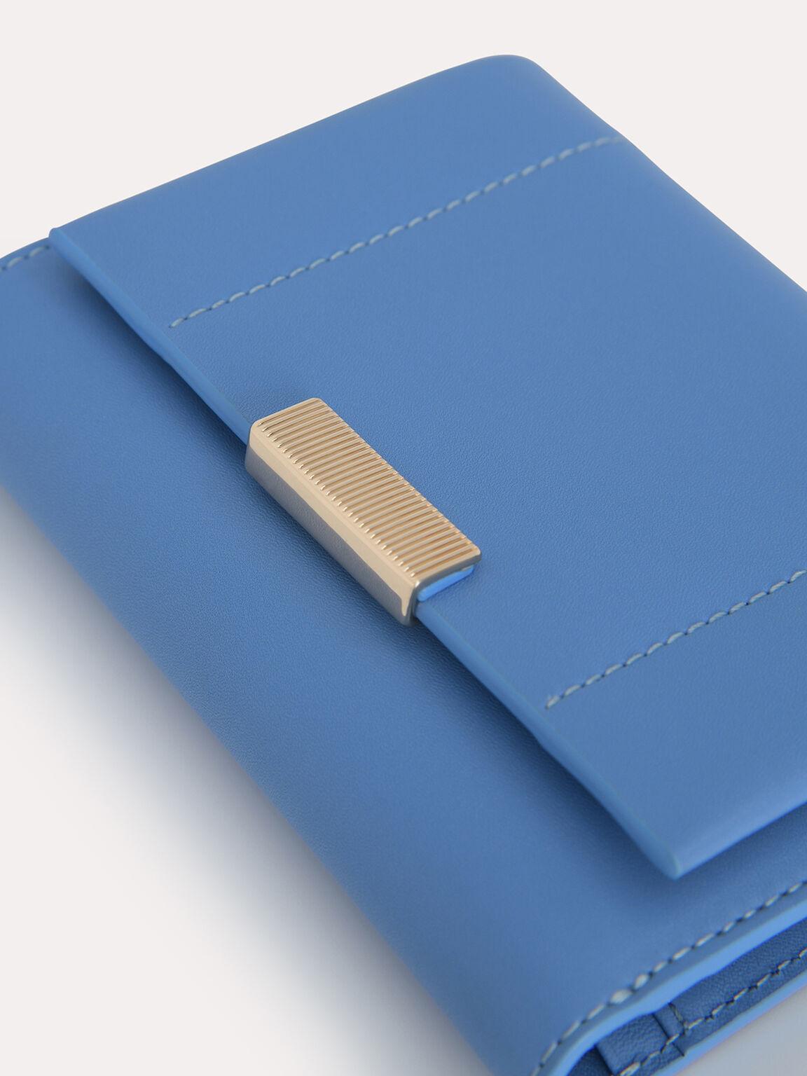 Leather Tri-Fold Wallet, Blue, hi-res