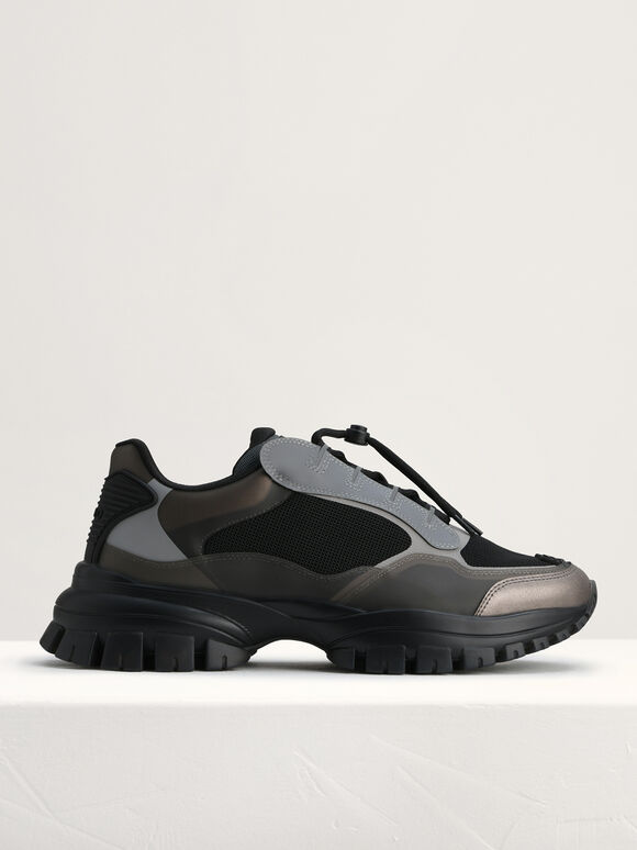 Chunky Transparency Sneakers, Black, hi-res