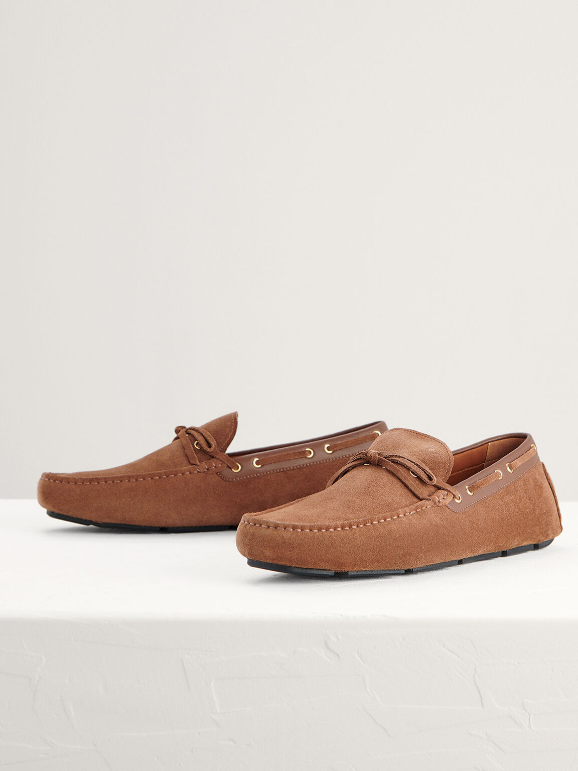 Bow-Detailed Suede Moccasins, Light Brown, hi-res