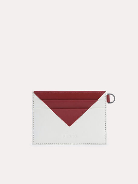 Three-Toned Leather Cardholder, White, hi-res