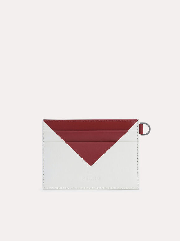 Three-Toned Leather Cardholder, White, hi-res