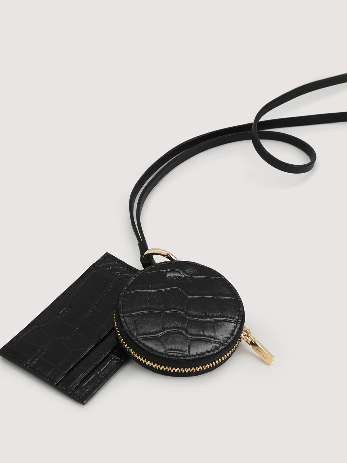 Embossed Leather Cardholder Lanyard with Coinpouch, Black, hi-res