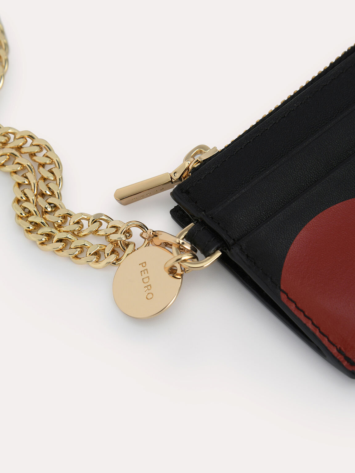 Leather Cardholder with Printed Heart, Black, hi-res