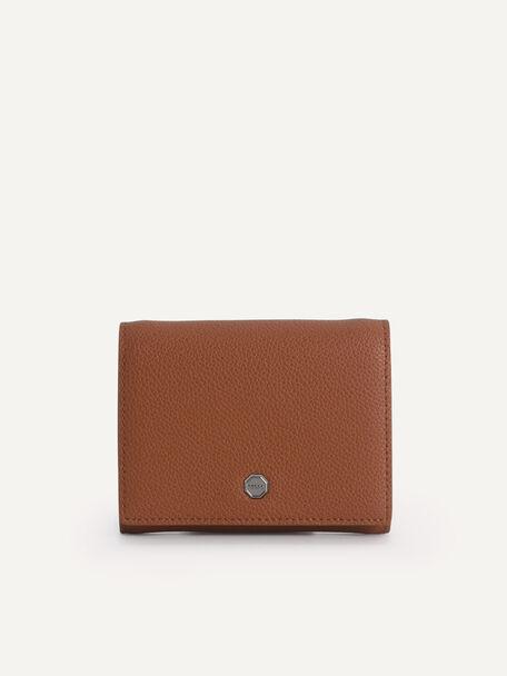 Textured Leather Pouch, Cognac, hi-res