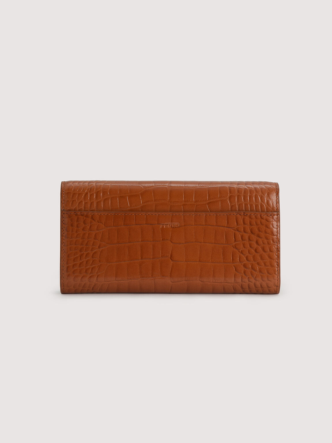 Embossed Leather Wallet On Chain, Cognac, hi-res