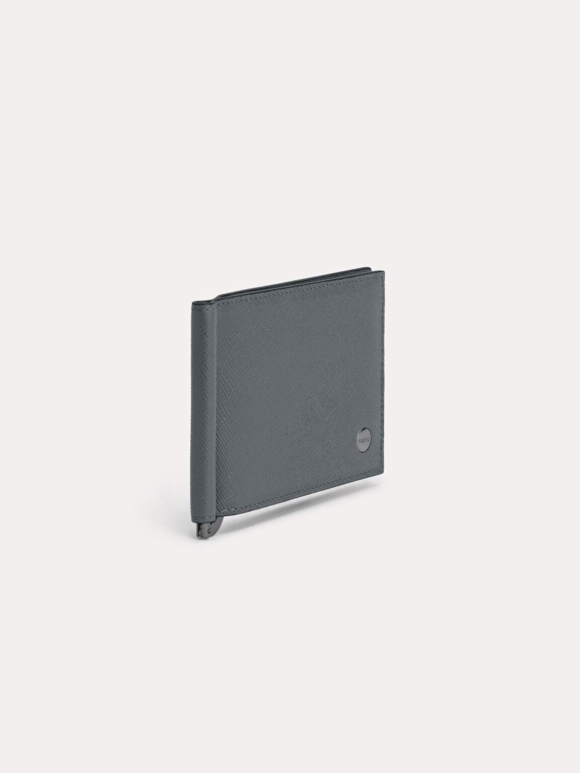 Leather Bi-Fold Card Holder with Money Clip, Dark Grey, hi-res