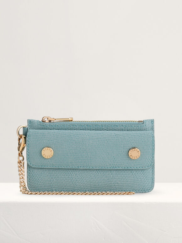 Lizard-Effect Leather Card Holder, Turquoise, hi-res