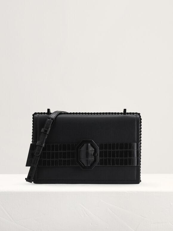 Croc-Effect Buckled Shoulder Bag, Black, hi-res