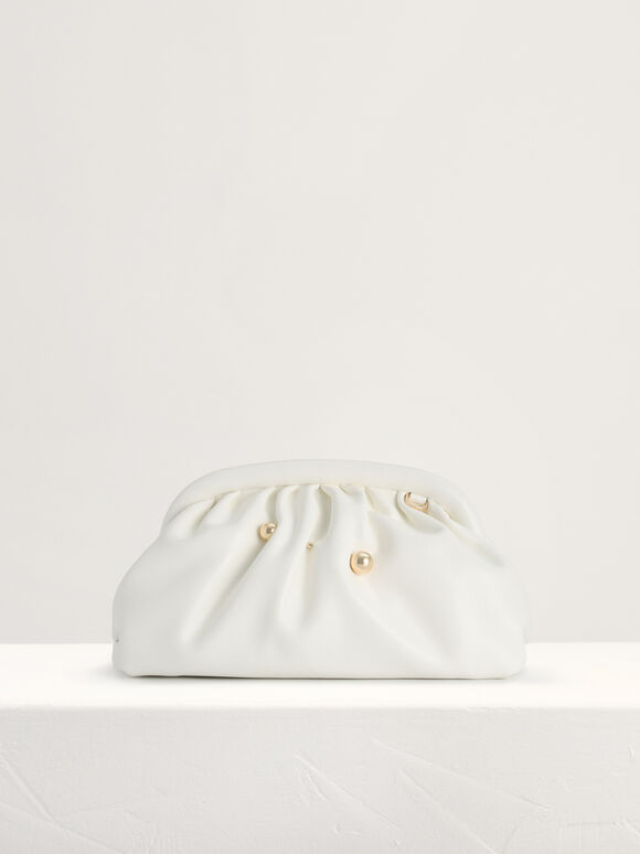 Ruched Clutch, White, hi-res