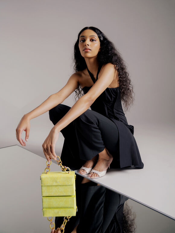 Croc-Effect Boxy Shoulder Bag, Yellow, hi-res