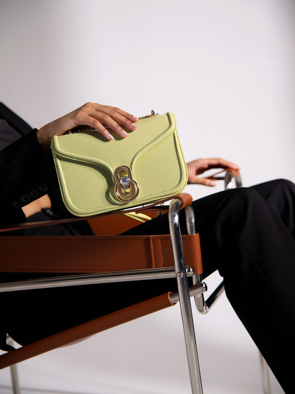 Leather Shoulder Bag, Light Green, hi-res
