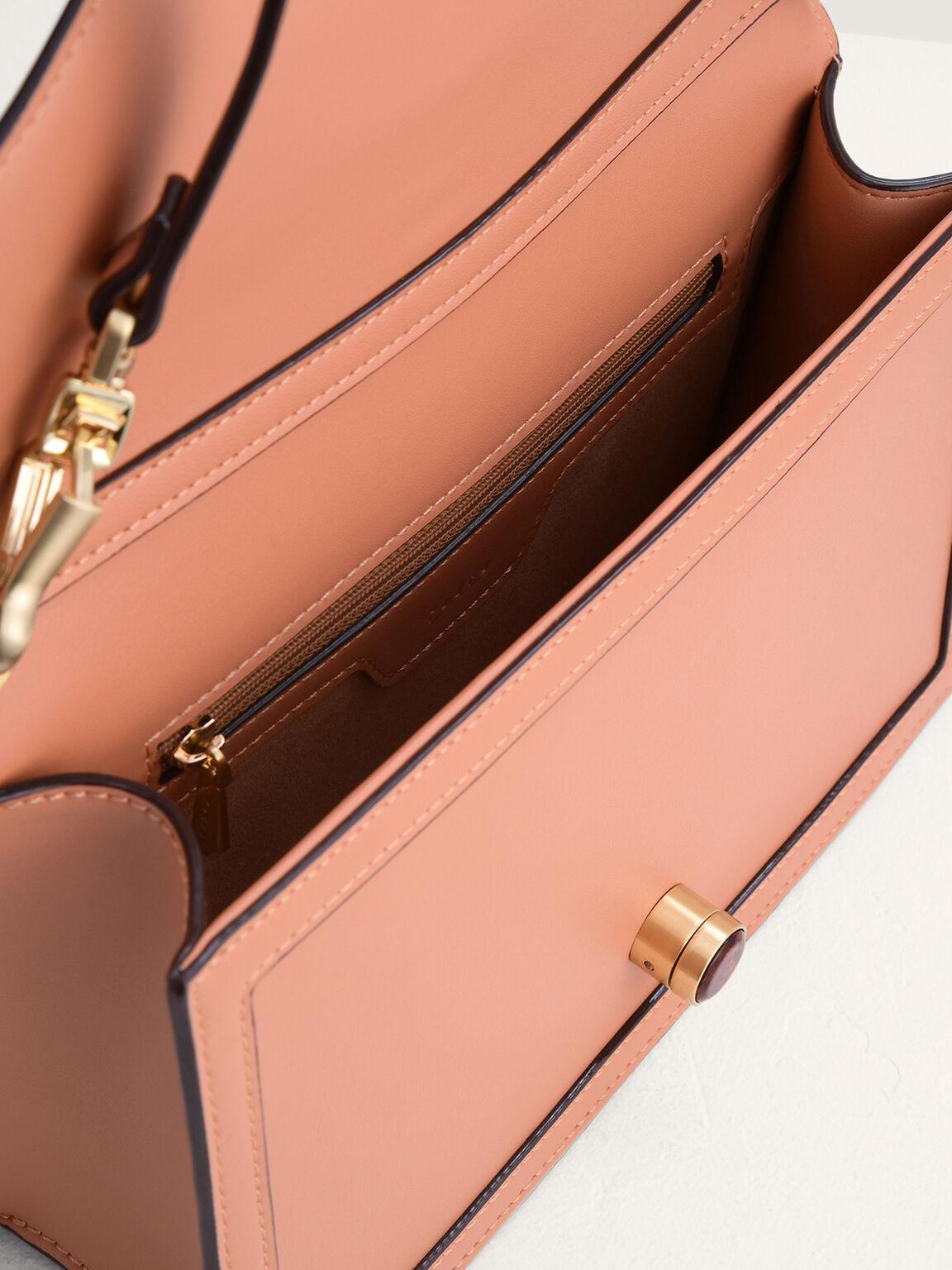 Shoulder Bag with Precious Stone Lock, Peach, hi-res