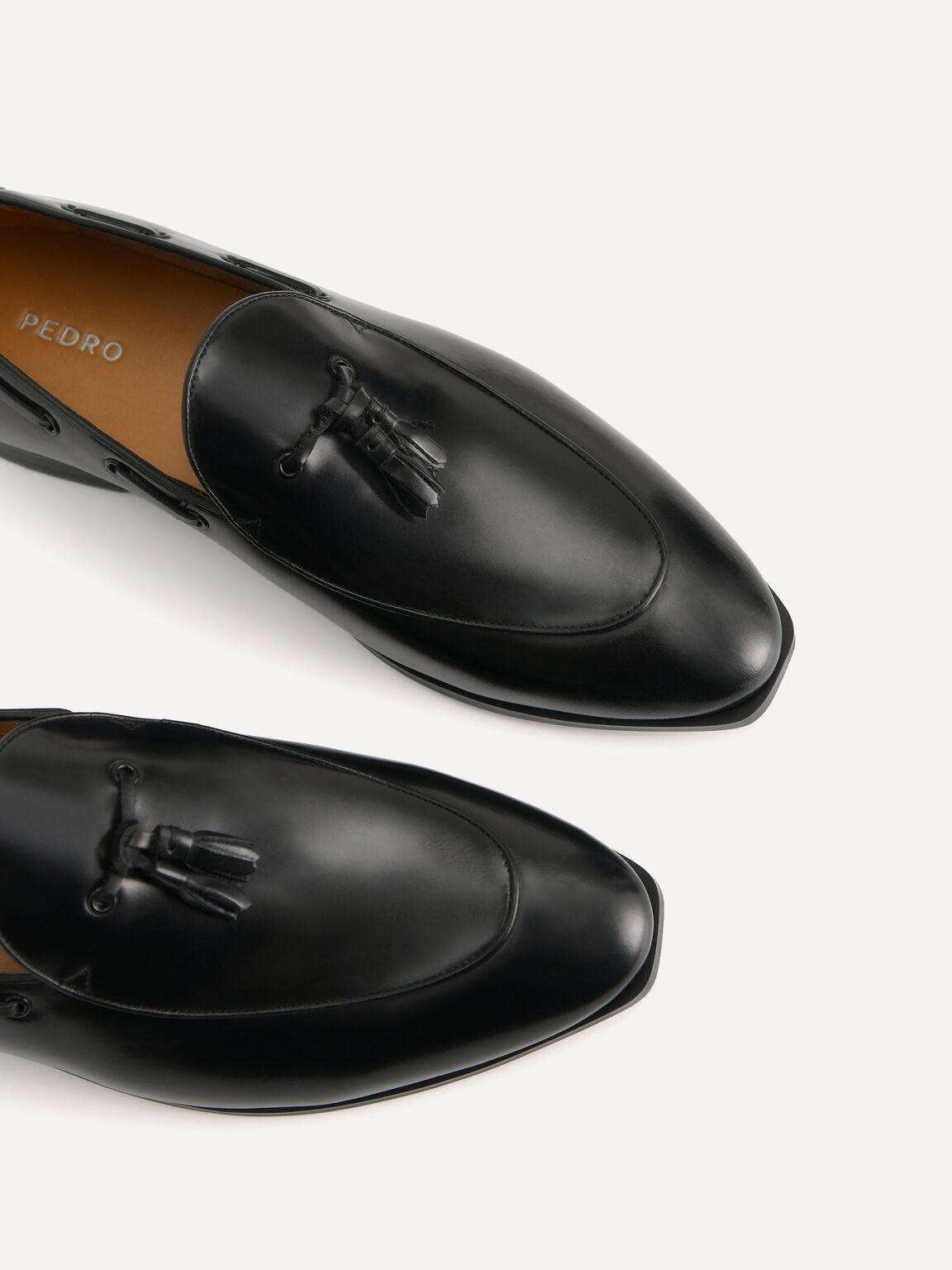 流蘇皮革樂福鞋, 黑色, hi-res