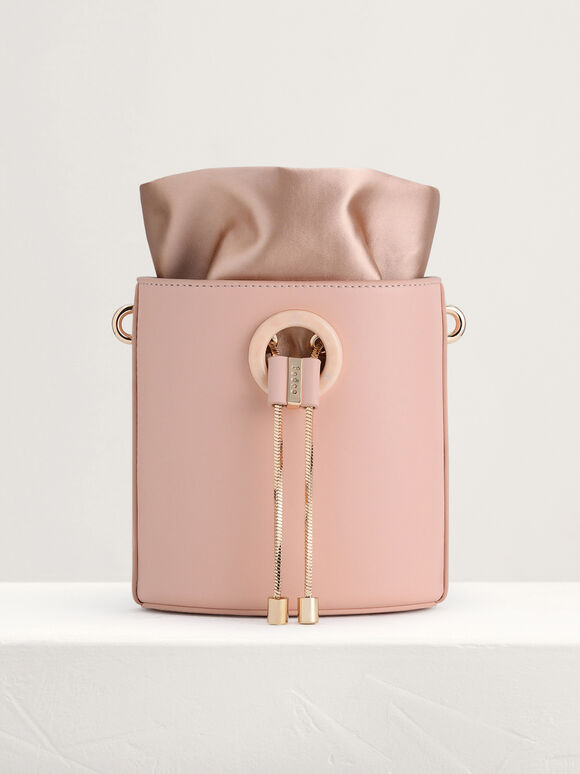 Drawstring Bucket Bag, Peach, hi-res