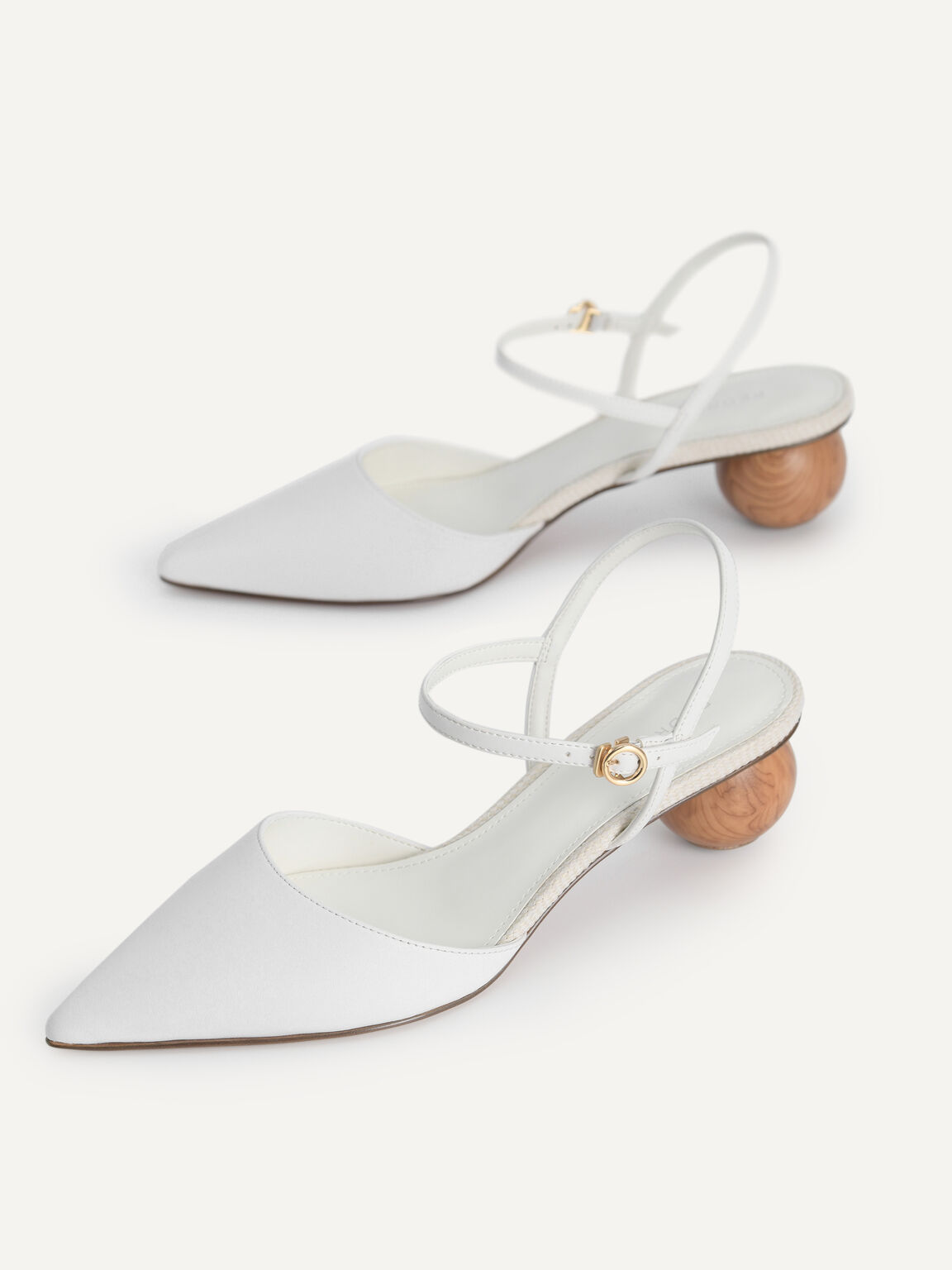 Leather Pointed Toe Heels, White, hi-res