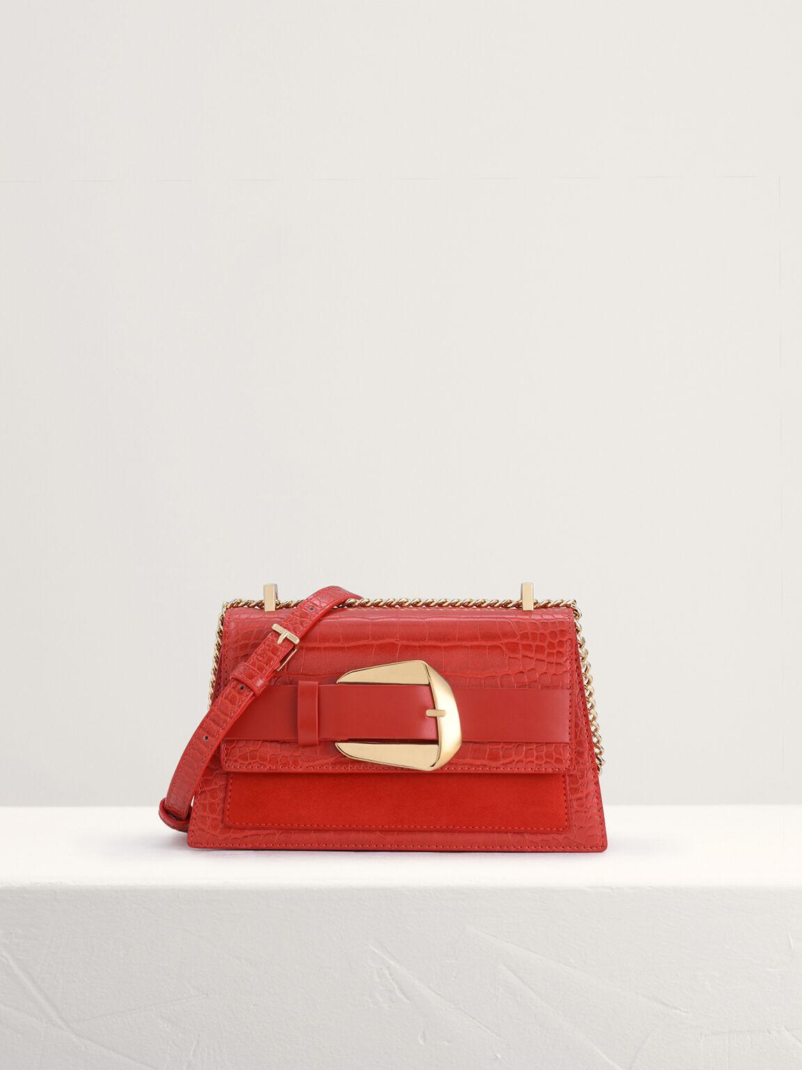 Buckled Croc-Effect Shoulder Bag, Red, hi-res